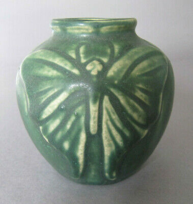 Modern Van Briggle Pottery Green-Glazed 'Moth' Vase, Possibly Dated 1989