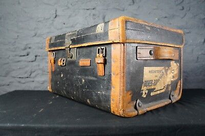 Antique Leather Bound Travel Trunk ~ Initialled A.M.C ~ Vintage Travel Labels