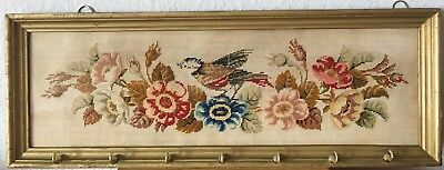 Antique 1905 German Blessing Victorian Paper Punch Bird& Flowers Embroidery