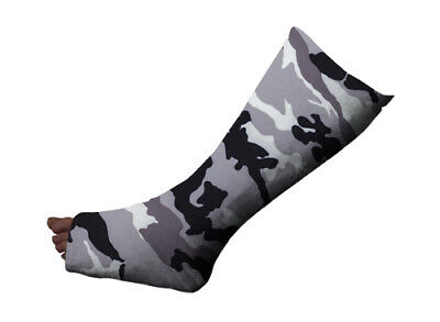 Short Leg Cast Cover, Grey Camo, keeps cast clean protects clothing