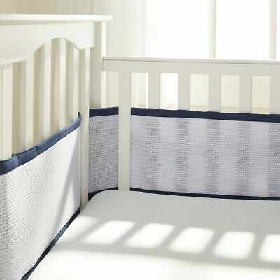 BreathableBaby Deluxe Breathable Mesh Baby Toddler Child Crib Liner Navy Bumper