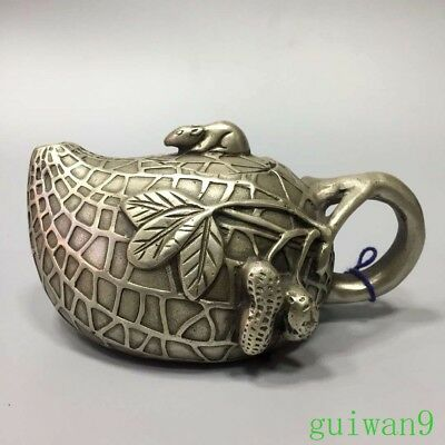 Collectable Chinese Miao Silver Carve Monkey Stand Royal Family King Use Teapot