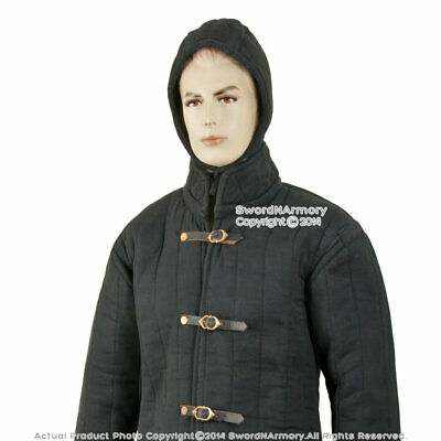 Black Small Size Gambeson Type IV Medieval Padded Armour Coat SCA LARP Jacket