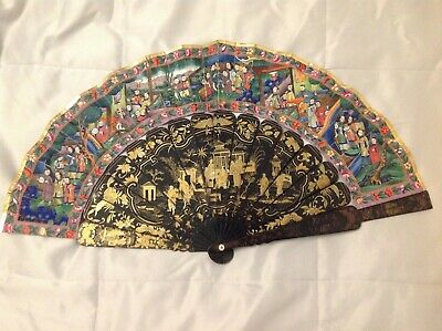 19/20 C Chinese Canton 1000 Faces Mandarin Fan Qing Dynasty With Original Box