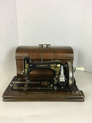 Circa 1880's EXACT Hand crank sewing machine In Wood Case Beautiful