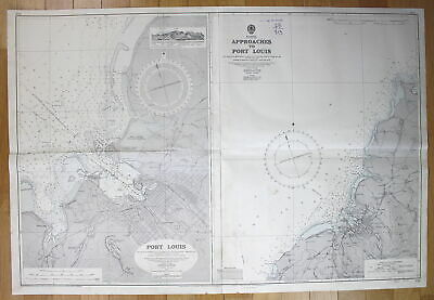 1951 Mauritius - Approaches to Port Louis Afrika Africa map