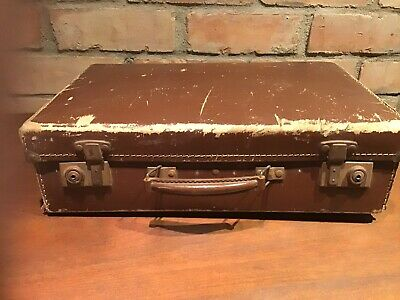 Brown Vintage Retro Leather Suitcase Trunk Project/ Shop Display