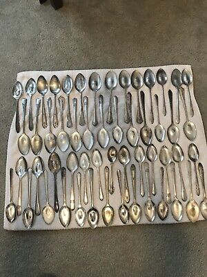 Silverplate Flatware Lot Of 54 Serving Spoons Flattened Bowls