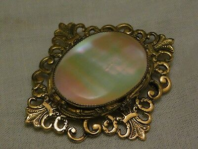 Vintage Stunning Mother of Pearl Iridescent Scroll Embossed High Detail  Brooch