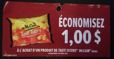 Lot of 20 x 1.00$ McCain Tasti Taters Products Coupons Canada