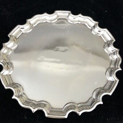 English Fully Hallmarked Heavy Solid Silver Card Tray In The Chippendale Style