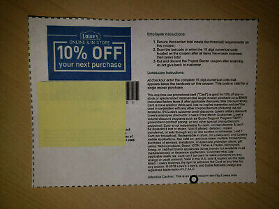 (5) Lowes 10%-Off Coupons-In Store Or Online-(FAST AVAIL) Best Expiration Avail