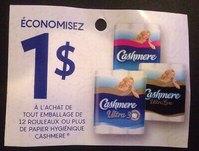 Lot of 20 x 1.00$ Cashmere Products Coupons Canada