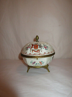 Antique French Coat Of Arms Porcelain Enamel Jewelry Casket Box Ormolu-Signed