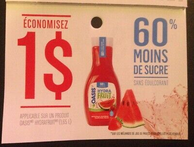 Lot of 20 x 1.00$ OASIS HYDRAFRUIT (1.65L) Products ANY Coupons Canada