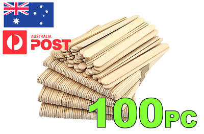 ***100 WOODEN CRAFT STICKS*** PADDLE POP POPSICLE Coffee Stirrers Ice Cream