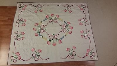 "Vintage Antique Quilt Circa 1950'S, Spring Tulips, 73"" By 88 3/4"", Heirloom"