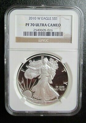 2010-W American Silver Eagle Ngc Pf70 Ultra Cameo Perfect Coin - True Auction