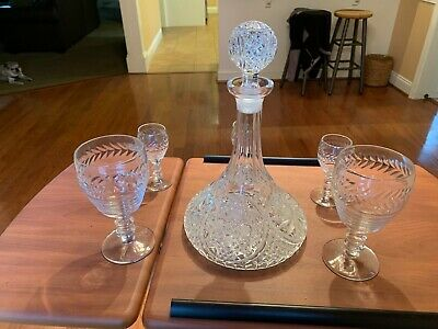 Vintage Crystal Cut Glass Wine Decanter with Stopper and Four Glasses