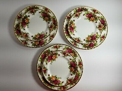 Royal Albert Old Country Roses Bone China England (3)Dessert & (3)Bread Plates