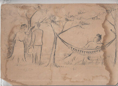Vintage 19th Century pencil drawing of picnic pen and ink on board