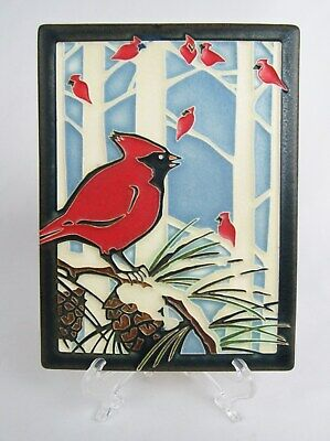 "Motawi Tileworks 8"" x 6"" Red Cardinal Bird in Winter Snow Art Tile"