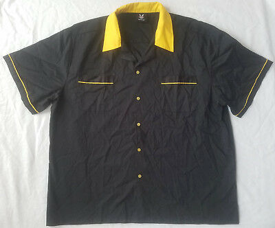 Black / Yellow Striped Bowling Shirt - XL Mens Short Sleeve Retro Hilton