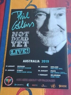 PHIL COLLINS - 2019 Australia Tour Poster - Laminated - Not Dead Yet Tour Poster