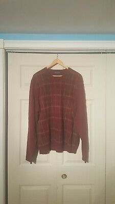 Brooks Brothers Plaid Crewneck Sweater Maroon Large Scottish lambs wool