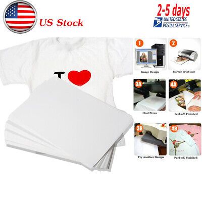 100 Sheets A4 Dye Sublimation Heat Transfer Paper for Polyester Cotton T- Shirt!