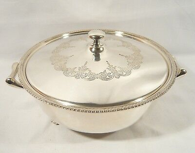 Birks Silver Plate Covered SHELL FOOTED Casserole SERVING DISH Glass Bowl Liner