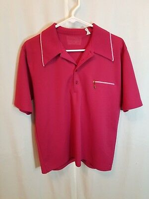 Men's Vintage 1970's Cranberry Red Short Sleeve Polyester Bowling Shirt Large
