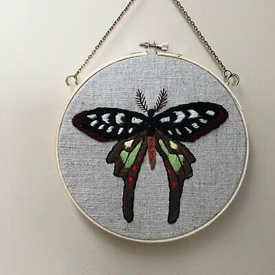 Tessa Perlow forest moth embroidery hoop