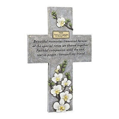 Orchid Valley Pet Memorial Grave Marker Cross Supplied with Blank Plaque