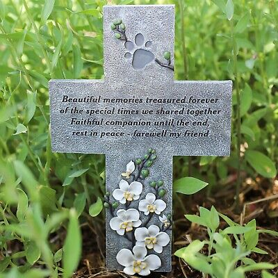 Orchid Valley Pet Loss Dog or Cat Memorial Cross Grave Marker for Garden or Yard