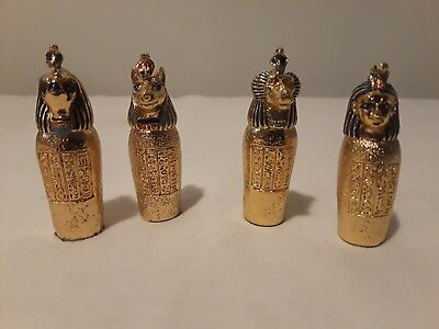 Egyptian Canopic Jar Gold Set of 4