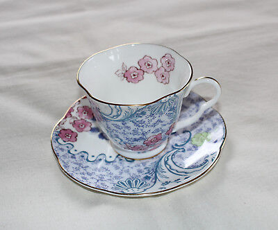 Wedgwood Butterfly Bloom Bone China Blue and Pink Design Teacup & Saucer