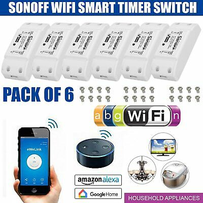 6x New Sonoff smart home WiFi wireless switch module for apple android APP DIY