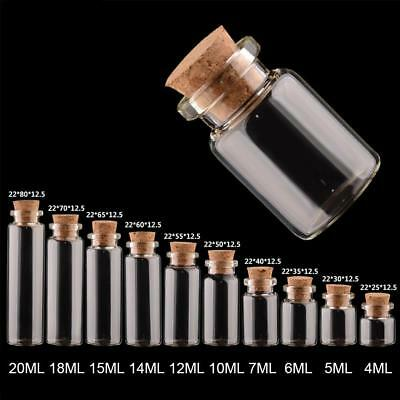 4--20ML Tiny Clear Glass Bottles Mini Empty Bottle With Cork Vials Wholesale