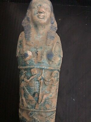Large Rare Ancient Egyptian Blue Statue Faience Shabti  (945-715 BC.)