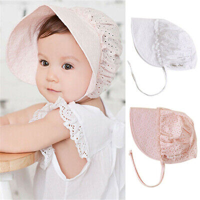 a76281e1306 Sweet Baby Bonnet Hat Lace-up Kids Girls Sun Hat Cotton Baby Caps Pink White