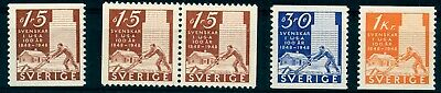Sweden 1948 The pioneer jubilee, cpl. set incl. booklet pair, MNH