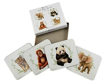 Drink Coasters Baby Animals by Elise Martinson Cork Back Glossy Top Dining Set/4