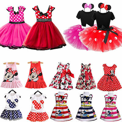 Kids Girl Mickey Minnie Mouse Princess Tutu Dress Birthday Party Summer Sundress