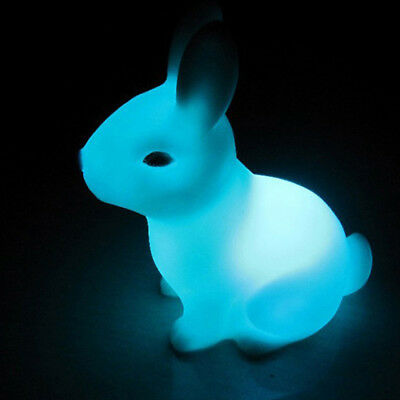 Lovely Color Changing LED Lamp Night Light Rabbit Party Decor Home Shape Gift