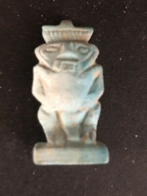 Rare Ancient Egyptian Faience Amulet Bes 26th DYN 680 Bc