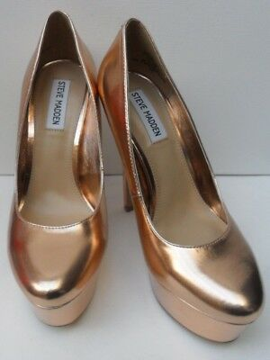 f14a0508a06 NEW STEVE MADDEN Gold Heels Strappy Metallic With Rhinestones Formal ...