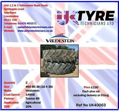 460 85 38 (18 4 38) Used Part Worn Agricultural Tractor Tyres UK40063