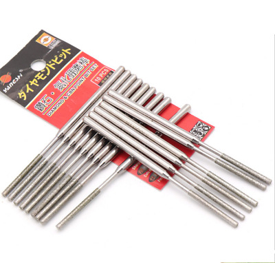 3mm Shank Diamond CBN Point Grinding Burr Drill Bits Cylindrical Rotary Tools