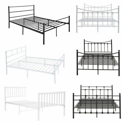 Heavy Duty White or Black Metal Bed Frame Bedstead 3FT Single 4FT 4FT6 Double UK